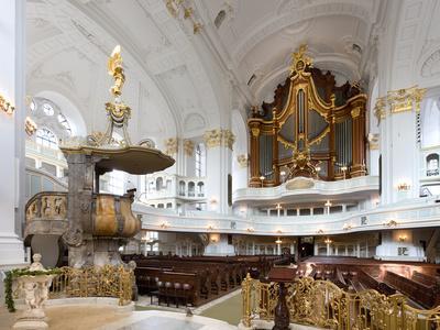West-Facing of Steinmeyer Organ in St Michaelis Church, Hamburg, Germany