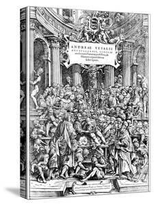 Title Page of Andreas Vesalius 'De Humani Corporis Fabrica, Showing Vesalius Dissecting Body, 1543 by Andreas Vesalius