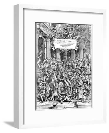 Title Page of Andreas Vesalius 'De Humani Corporis Fabrica, Showing Vesalius Dissecting Body, 1543
