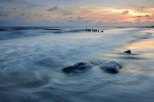 Denmark, Island M¡N, Klintholm Havn, Sunset, Beach, Groyne, Erratic Blocks by Andreas Vitting