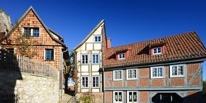 Germany, Saxony-Anhalt, Quedlinburg, Historical Old Town, Narrow Alley with Half-Timbered Houses by Andreas Vitting