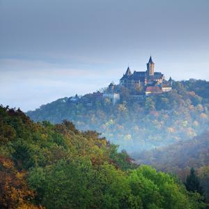 Lock Wernigerode in the First Morning Light, Behind Morning Fog, Saxony-Anhalt by Andreas Vitting