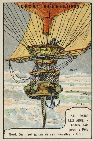 Andree Setting Out on His Balloon Flight to the North Pole, 1897--Giclee Print