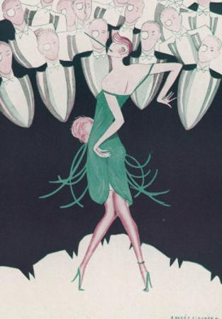 Flapper in a Green Dress Dances in Front of a Group of Men in Evening Dress