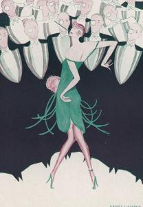 Flapper in a Green Dress Dances in Front of a Group of Men in Evening Dress by Andree Sikorska
