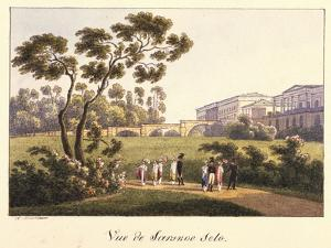 View of the Cameron Gallery in the Park in Tsarskoye Selo, before 1817 by Andrei Yefimovich Martynov