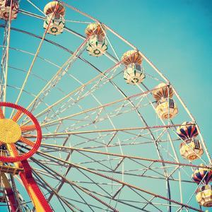 Vintage Retro Ferris Wheel on Blue Sky by Andrekart Photography