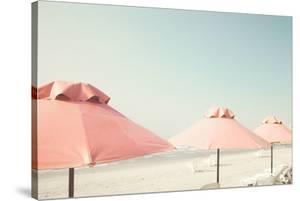 Vintage Summer Beach with Pink Pastel Parasols by Andrekart Photography