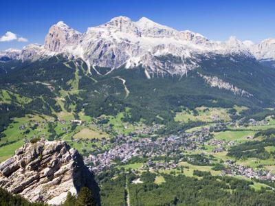 Mountain-Top View of Cortina D'Ampezzo and Peak of Tofana