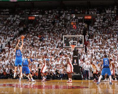 Dallas Mavericks v Miami Heat - Game Two, Miami, FL - JUNE 2: Dirk Nowitzki, Tyson Chandler and Chr