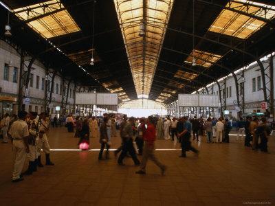 Commuters Hurry Through the Quasi-Moorish Interior of Ramses Station, Cairo's Largest Train Artery