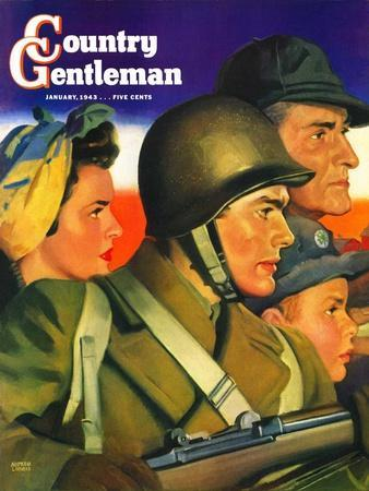 """""""We're All Important Now,"""" Country Gentleman Cover, January 1, 1943"""