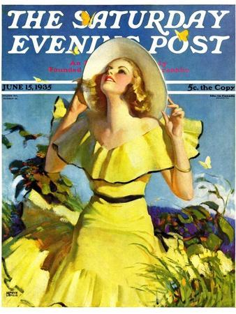 """""""Woman in Yellow,"""" Saturday Evening Post Cover, June 15, 1935"""