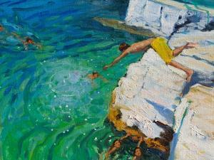 Detail of Jumping into the Sea, Plates, Skiathos, 2015 by Andrew Macara