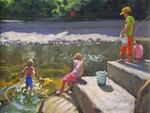 Kids Fishing, Looe, Cornwall, 2014 by Andrew Macara