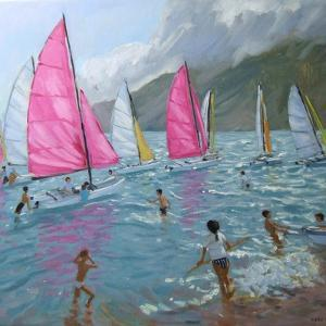 Pink and White Sails, Lefkas, 2007 by Andrew Macara