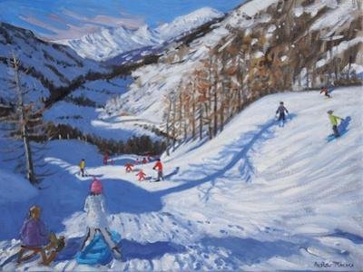 Shadow of a Fir Tree, And Skiers Tignes, 2014 by Andrew Macara