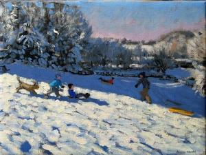 Sledging Near Youlgreave, Derbyshire by Andrew Macara