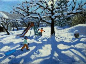 The Slide in Winter, Bourg, St Moritz by Andrew Macara