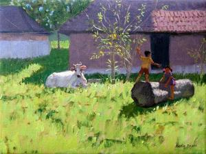 White Cow and Two Children,Mankotta Island, Kerala, India by Andrew Macara