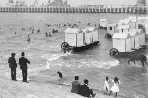 Ostend Seaside, Bathing Huts on Wheels, View from Top of Sea Wall, c.1900 by Andrew Pitcairn-knowles