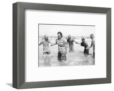Ostend Seaside, Five Striped Bathers, c.1900