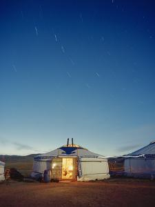 Yurt under a Starry Sky in Mongolia by Andrew Rowat