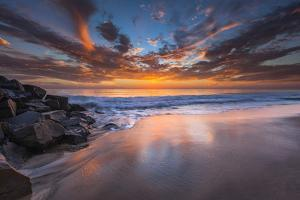 Sunset from Tamarach Beach in Carlsbad, Ca by Andrew Shoemaker