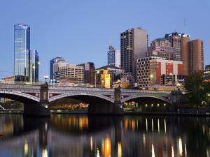 Australia, Victoria, Melbourne; Princes Bridge on the Yarra River, with the City Skyline at Dusk by Andrew Watson