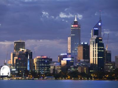 Australia, Western Australia, Perth; the Swan River and City Skyline at Dusk