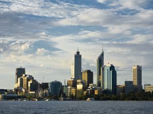 Australia, Western Australia, Perth; View across the Swan River to the City Skyline at Dusk by Andrew Watson