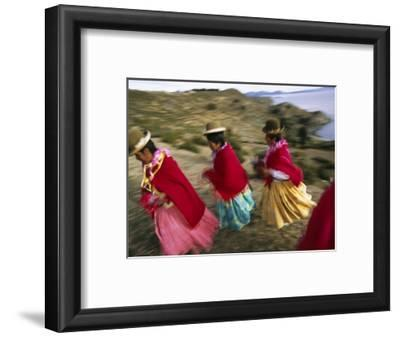Aymara Women Dance and Spin in Festival of San Andres Celebration, Isla Del Sol, Bolivia