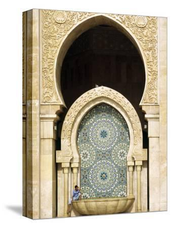 Casablanca a Visitor Is Dwarfed by the Towering Mosaic Tilework of the Hassan Ii Mosque, Morocco