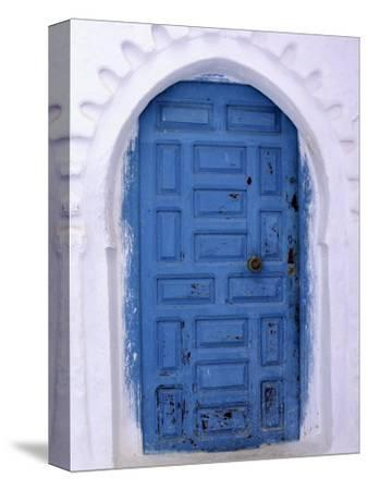 Chefchaouen Blue Door and Whitewashed Walls - Typical in Rif Mountains Town of Chefchaouen, Morocco