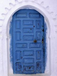 Chefchaouen Blue Door and Whitewashed Walls - Typical in Rif Mountains Town of Chefchaouen, Morocco by Andrew Watson