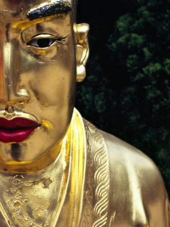 Face of Golden Buddha Statue - One Among Many at Ten Thousand Buddhas Monastery, New Territories