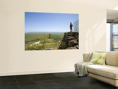 Hiker Looking Out over Kakadu Landscape from Jim Jim Falls Escarpment, on Barrk Marlam Bushwalk