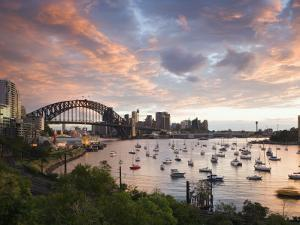 New South Wales, Lavendar Bay Toward the Habour Bridge and the Skyline of Central Sydney, Australia by Andrew Watson