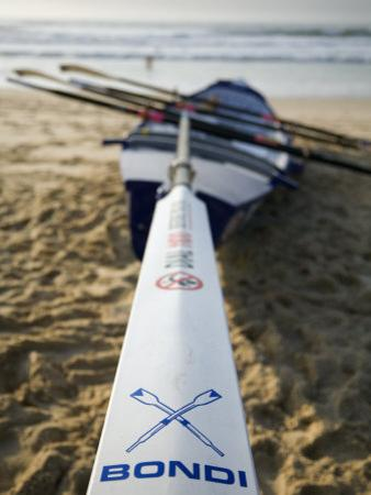 New South Wales, Sydney, A Surfboat Sits on Beach at Bondi in Sydney's Eastern Beaches, Australia