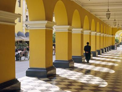 Pastel Shades and Colonial Architecture on the Plaza De Armas in Lima, Peru