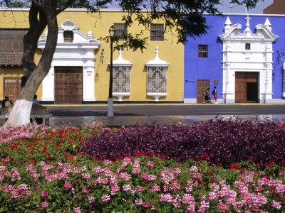 Pastel Shades and Wrought Iron Grillwork Dominate Colonial Architecture in Centre of Trujillo, Peru