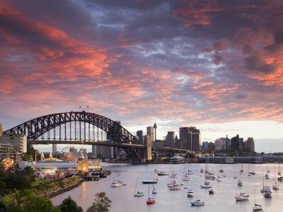 View over Lavendar Bay Toward the Habour Bridge and the Skyline of Central Sydney, Australia