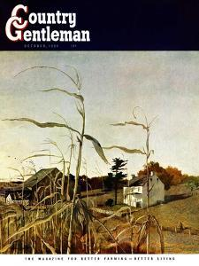 """Autumn Cornfield,"" Country Gentleman Cover, October 1, 1950 by Andrew Wyeth"
