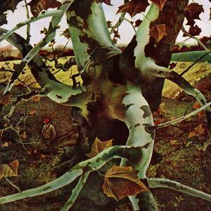 """""""Sycamore Tree and Hunter,"""" October 16, 1943 by Andrew Wyeth"""