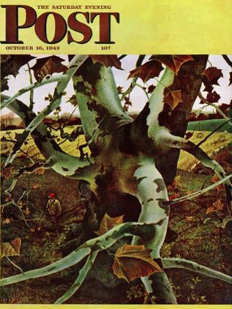 """""""Sycamore Tree and Hunter,"""" Saturday Evening Post Cover, October 16, 1943 by Andrew Wyeth"""
