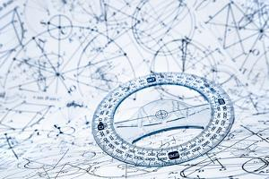 Protractor on the Background of Mathematical Formulas and Algorithms by Andrey Armyagov