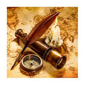 Vintage Compass, Quill Pen, Spyglass Lie On An Old Ancient Map With A Lit Candle by Andrey Armyagov
