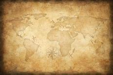 Aged Treasure Map Background-Andrey_Kuzmin-Mounted Art Print