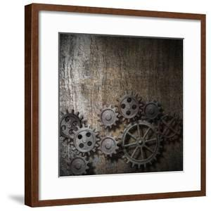 Metal Background With Rusty Gears And Cogs by Andrey_Kuzmin