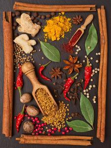 Still Life with Spices and Herbs in the Frame by Andrii Gorulko